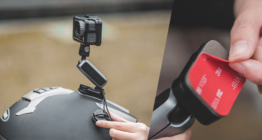 Action Camera Adhesive Mount - It doesn't let go and even includes a safety cord.